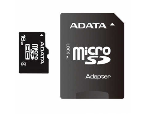 ADATA 16 GB, MicroSDHC, Flash memory class 4, SD adapter