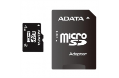 ADATA 4 GB, MicroSDHC, Flash memory class 4, SD adapter