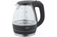 Adler AD 1224 Cordless Water Kettle, 1.5L, 2000W, Anti-calc filter, Boil-dry protection, Rotary base 360 degree