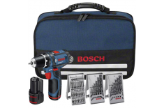 Bosch GSR 10,8-2Li Cordless drill/2x1,5Ah/10,8V/30Nm/7mm/0.95kg + 39 accessories tool kit + Bag