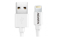 A-Data Sync and Charge Lightning Cable for iPhone, iPad, iPod (1m) - White plastic