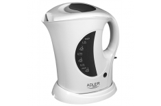 Adler AD 03 Cordless Water Kettle, 1.0L, 900W, Filter, Boil-dry protection , White