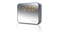 Muse Clock radio M-165CMR Silver, 0.9 inch amber LED, with dimmer