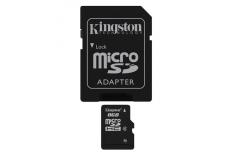 Kingston 8 GB, microSDHC, Flash memory class 4, SD adapter