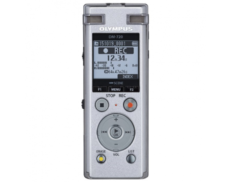 Olympus Digital Voice Recorder DM-720 Stereo/Tresmic, PCM/MP3, 18mm round dynamic speaker/ 150mW, Rechargeable, Microphone conne