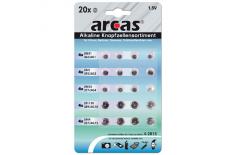 Arcas AG Set 4xAG1, 4xAG3, 4xAG4, 4xAG10, 4xAG13, Alkaline Buttoncell, 20 pc(s)