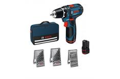 Bosch GSR 12V-15 Li Cordless drill/2x2,0Ah+ 39 accessories tool kit + Bag Bosch