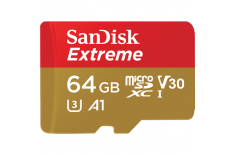 Sandisk 64GB Extreme microSDHC 64Gb + SD Adapter + Rescue Pro Deluxe 100MB/s A1 C10 V30 UHS-I U3
