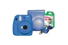 Fujifilm Instax Mini 9 camera + Instax mini Glossy (10pl) + Camera Case Cobalt Blue, 0.6m -