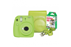 Fujifilm Instax Mini 9 + Instax mini glossy (10) + Camera Case Lime green, 0.6m -