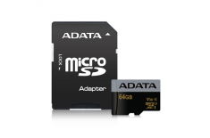 ADATA Premier Pro UHS-I U3 64 GB, MicroSDXC, Flash memory class 10, Adapter