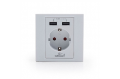 Gembird MWS-ACUSB2-01 AC wall socket with 2 port USB charger, White